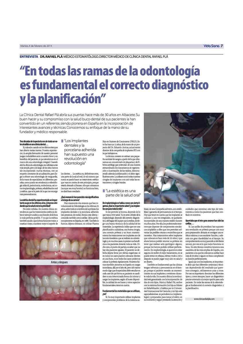 Entrevista del Dr. Pla en el Diario la Razón